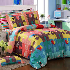 Pink And Yellow Bedding Abstract Coral Pink Blue Green Yellow And Maroon Brown Colorful