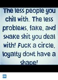 Loyalty Meme - the less people you chill with the less problems fake and snake shit