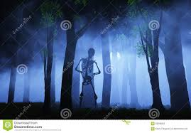 blue halloween background 3d halloween background of a skeleton in a foggy forest stock