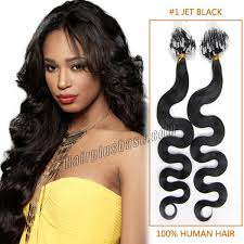 20 inch hair extensions inch 1 jet black wavy micro loop human hair extensions 100s
