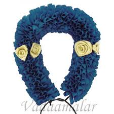 buy artificial flowers online blue gold strand for hair braid
