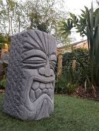unique carved aircrete concrete tiki garden statue by