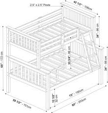 bunk bed measurements palace imports mission twin full bunk bed
