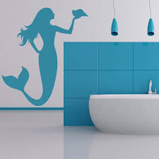 mermaids fantasy bathroom home living mermaid with shell fantasy sea mythical creatures wall stickers home art decals