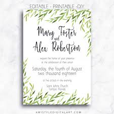 printable wedding invitations printable wedding invitation greenery amistyle digital