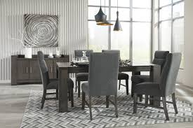 Interior Design Uph Chansey Dark Grey Rect Drm Table W Glass Top U0026 6 Uph Side