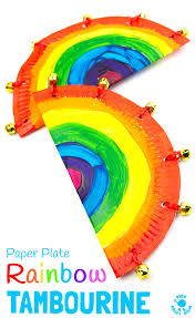 Musical Instruments Crafts For Kids - rainbow paper plate tambourine craft homemade musical