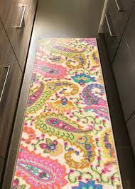 custom size multicolor paisley rubber backed non slip hallway