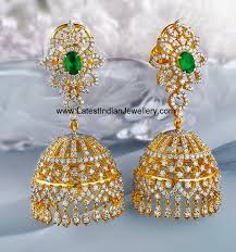 heavy diamond earrings diamond jhumkas jewellery designs diamond