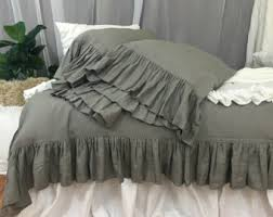 ruffle linen duvet cover features easy flow ruffles shabby