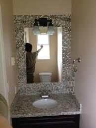 How To Build A Frame Around A Bathroom Mirror Tile Frame Around Bathroom Mirror Thedancingparent