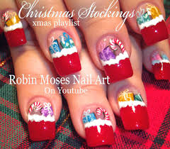 christmas stocking nail art filled with gifts xmas nail art