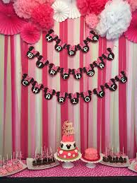 Mickey And Minnie Curtains by Minnie Mouse First Birthday Party Dessert Table And Backdrop