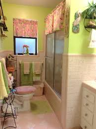 Pink Tile Bathroom by Tile Bathroom Half Wall Tile Wainscotting And Open Vanity Bathroom