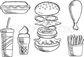 fast food dinner menu isolated sketch icons of cheeseburger with