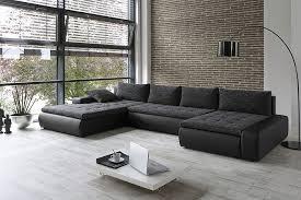 kunstleder sofa schwarz sofa 389x212 162cm webstoff schwarz grau kunstleder