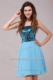 empire sequins strapless knee length light blue dresses for dama
