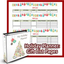 holiday planner gift list printables u2014