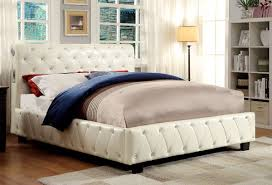 ivory leatherette tufted upholstered bed frame w bluetooth