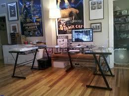 3 piece glass desk customer image gallery for walker edison soreno 3 piece corner desk