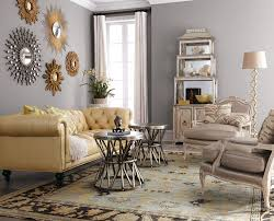Yellow And Grey Room Silvery Gray And A Collection Of Sunburst Mirrors Give This Room A