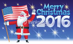 merry card with santa claus hold usa flag vector