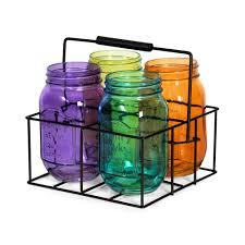Mason Jar Tea Light Holder Set Of 4 Assorted Color Mason Jar Tealight Holders In Metal Caddy