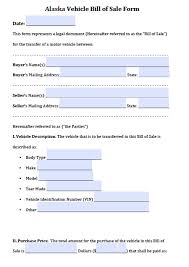 As Is Bill Of Sale For Vehicle by Free Alaska Vehicle Bill Of Sale Form Pdf Word Doc