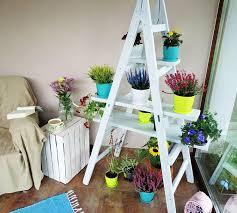 Diy Ladder Bookshelf Diy Ladder Shelf Ladder Plant Shelf For Garden