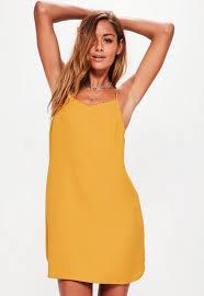 shift dress yellow crepe slip dress missguided