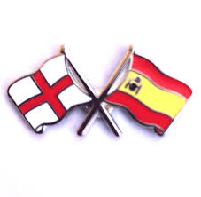 The Flag In Spanish England Flag And Spanish Flag Crossed Lapel Badge