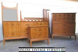 RARE S Bedroom Set Dresser Credenza Chest Headboard Nightstand - Antique mid century modern bedroom furniture