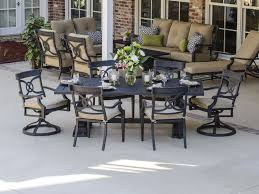 7 piece cast aluminium patio outdoor furniture dining set equipped