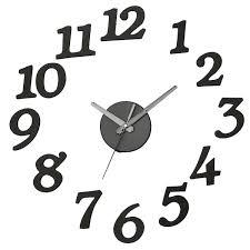 black 3d wall clocks diy big numbers watch wall sticker decal