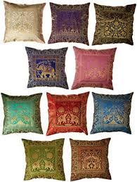 Brocade Home Decor 10 Pc Lot Square Silk Home Decor Cushion Cover Indian