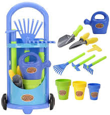 kids gardening trolley play set garden hand tools toy watering can