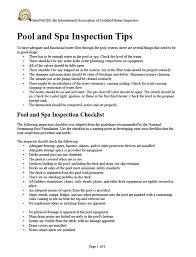 house inspection report sample free pools and spas inspection checklist