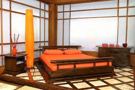 interesting asian bedroom decor in orange theme with brown wooden