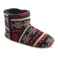 new mens dunlop faux fleece lining knitted indoor eskimo slippers