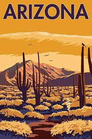 Arizona Travel Posters images Arizona desert scene with cactus 9x12 art print jpg