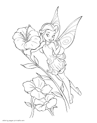 coloring page fairy and flowers