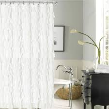 Ruffled Shower Curtain Venezia White Ruffled Shower Curtain