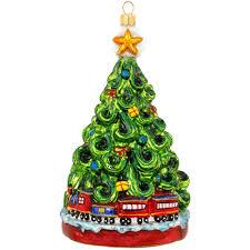 christmas tree with train glass ornament novelty nostalgia