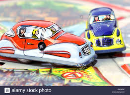 wrecked car drawing toys toy cars car crash two miniature cars germany 1950s 50s