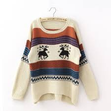 oversized christmas tacky oversized stripe reindeer pattern womens christmas sweater