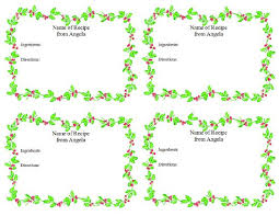 holiday recipe cards with holly garland border 4 per page