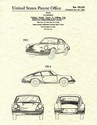 patent 1964 porsche 911 carrera sports car poster wall art