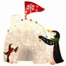 set of 2 pre lit penguins with igloo decoration