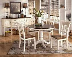 simple white round dining table 4 legs glass with leather chairs