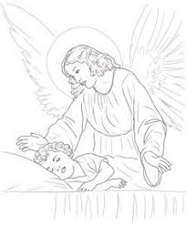 guardian angel prayers with little catholic coloring page